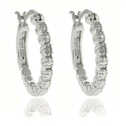 Finesque Silver Overlay Diamond Accent Hoop Earrings