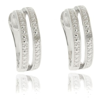 Finesque Diamond Accent Double Curved Hoop Earrings