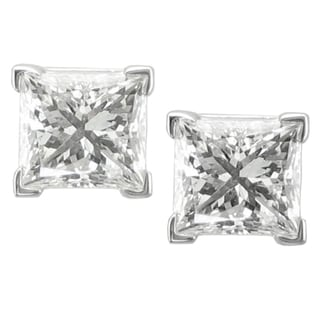 14k White Gold 2ct TDW Princess-cut Diamond Stud Earrings