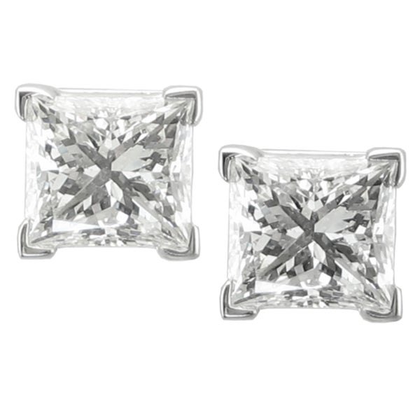 Montebello 14k White Gold 2ct TDW Princess-cut Diamond Stud Earrings