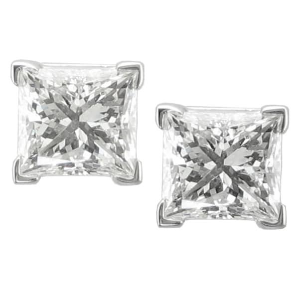 14k White Gold 2ct TDW Princess-cut Diamond Stud Earrings