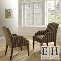 ETHAN HOME Kylie Rustic Oak Striped Pattern Arm Chair (Set of 2)