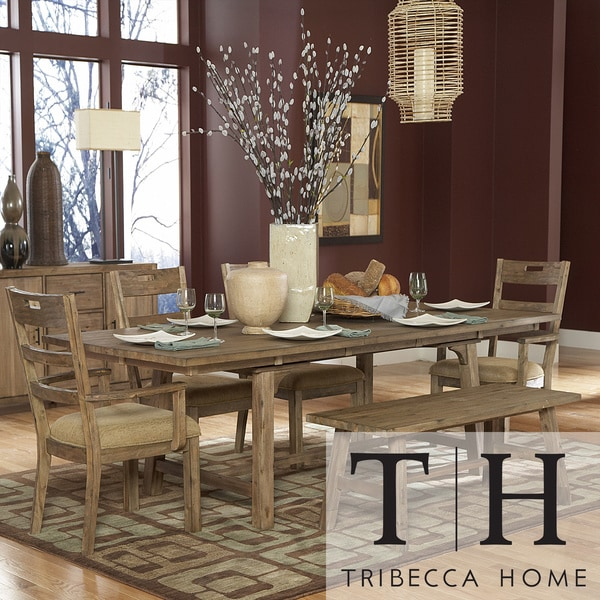 Tribecca Home Nat Driftwood Acacia Wood Country Dining Set (Set of 6)