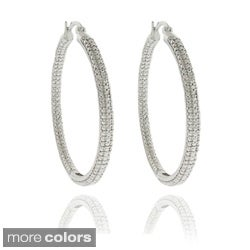 Finesque Overlay Diamond Accent Large Hoop Earrings