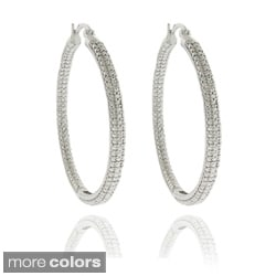 Finesque 14k Gold Overlay or Silverplated Diamond Accent Large Hoop Earrings