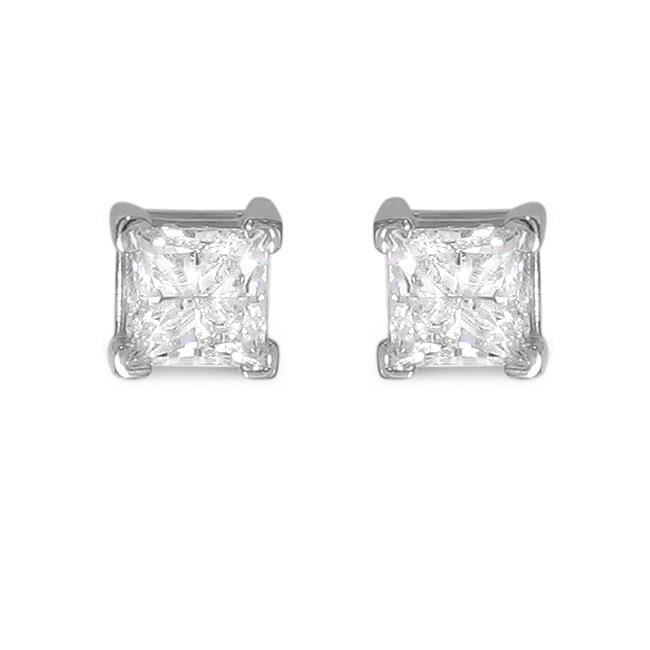 14k White Gold 3ct TDW Princess-cut Diamond Stud Earrings (I-J, I2)
