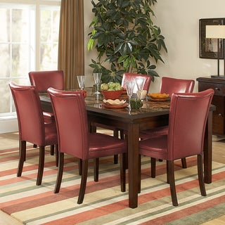 Estonia Dining Set with Lava Red Color Chairs (Set of 7)