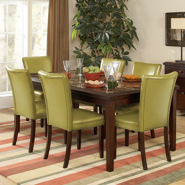 Estonia Dining Set with Olive Green Color Chairs (Set of 7)