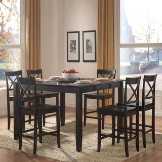 Wicklow Black X Back 7-piece Casual Counter Height Dining Set