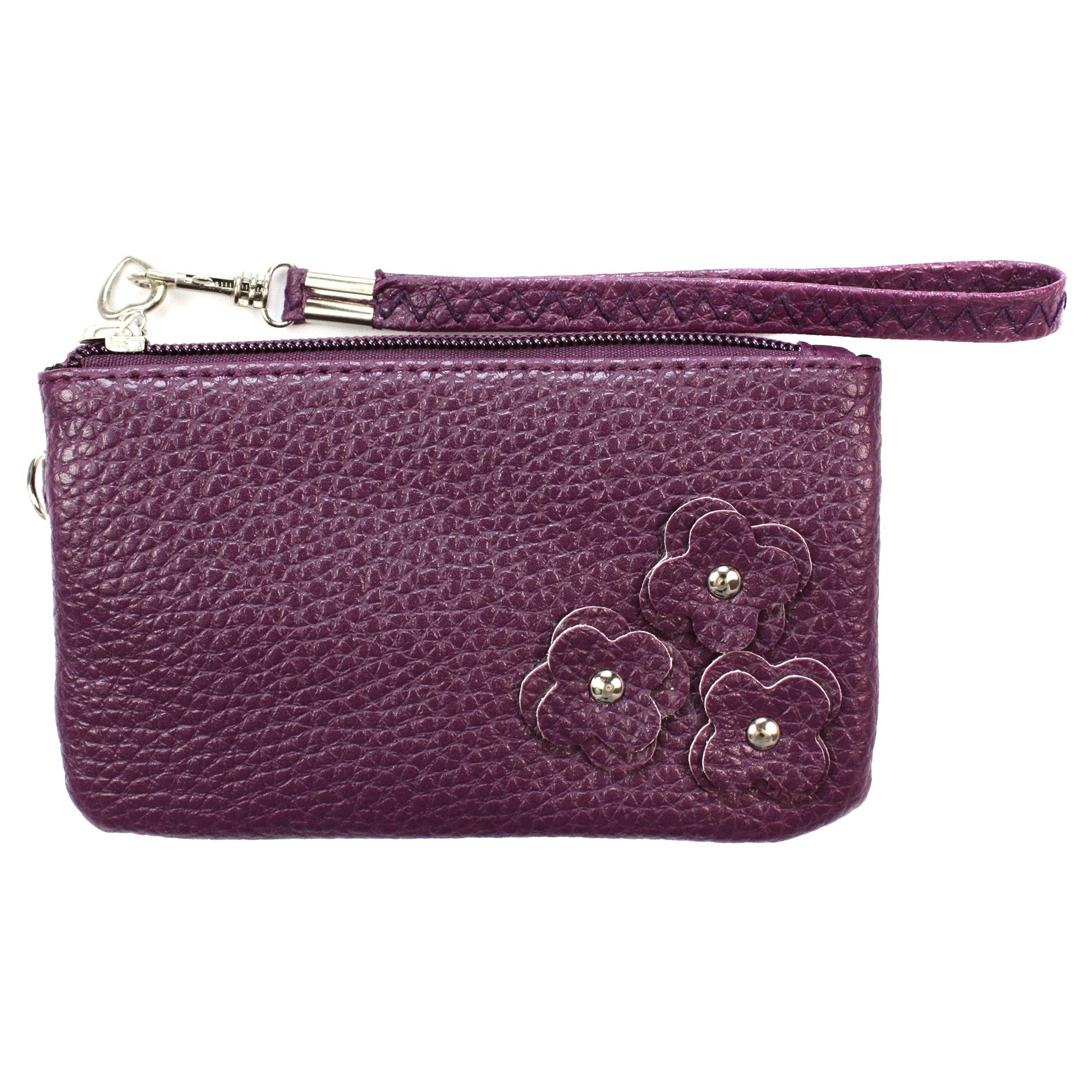 Fashion PU Multi-purpose Wallet / Coin Purse Purple Floral Design