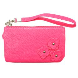 Fashion PU Multi-purpose Wallet / Coin Purse Dark Pink Floral Design