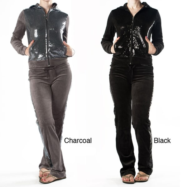 Tabeez Women's Sequin Velour Track Suit
