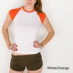American Apparel Women's Baby Ribbed Cap Sleeve Raglan
