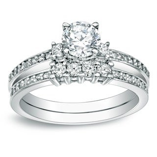 Auriya 14k Gold 1ct TDW Round Diamond Bridal Ring Set (J-K, I1-I2)