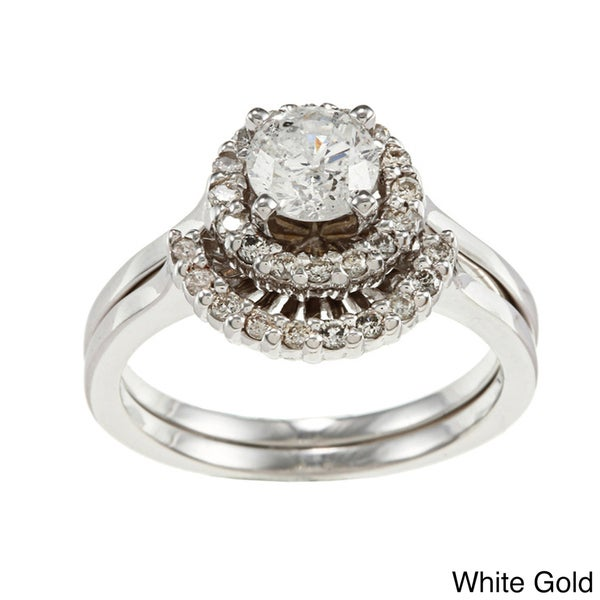 Auriya 14k Gold 1ct TDW Round Halo Diamond Bridal Ring Set (H-I, I1-I2)