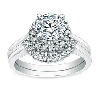 Auriya 14k Gold 1ct TDW Round Halo Diamond Bridal Ring Set (I-J, I1-I2)