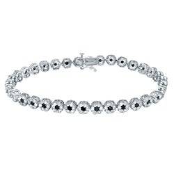 Auriya 14k White Gold 4 1/2ct TDW Black and White Diamond Bracelet (G-H, I2-I3)