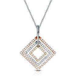 Auriya 14k Tri-color Gold 1/2ct TDW Round Diamond Square Necklace (G-H, I1-I2)