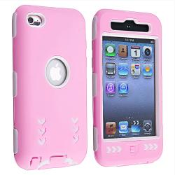 White/ Pink Hybrid Case for Apple iPod Touch 4th Generation