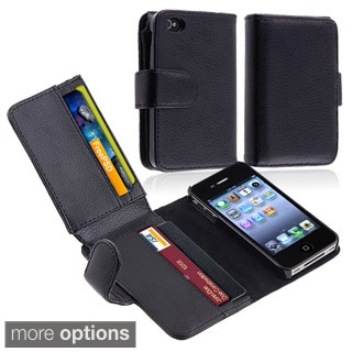 INSTEN Black Folio Flip Leather Wallet Flap Pouch Phone Case for Apple iPhone 4/ 4S