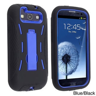 Blue/ Black Hybrid Case with Stand for Samsung Galaxy S III