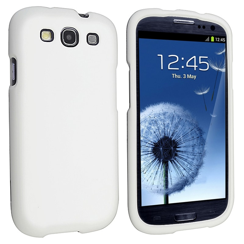 INSTEN White Snap-on Rubber Coated Phone Case Cover for Samsung Galaxy S III