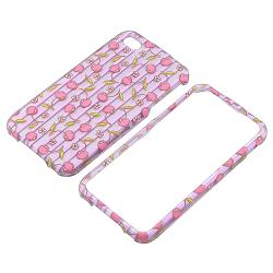 Pink Cherries/ Purple Stripe Rubber Coated Case for Apple iPhone 4/ 4S