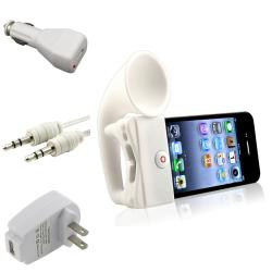 INSTEN White Horn Stand Speaker/ Chargers/ Cable for Apple iPhone 4/ 4S