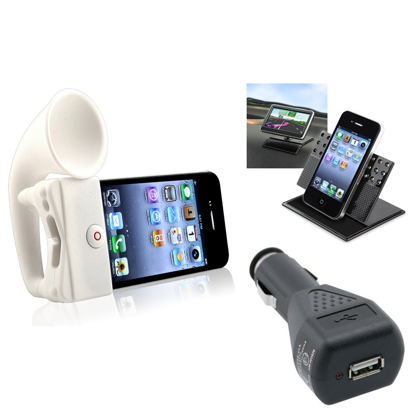 INSTEN White Horn Stand Speaker/ Holder/ Charger Bundle for Apple iPhone 4/ 4S