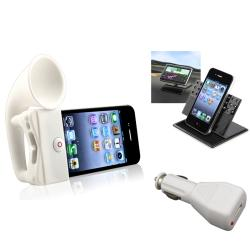 White Horn Stand Speaker/ Holder/ Charger for Apple� iPhone 4/ 4S
