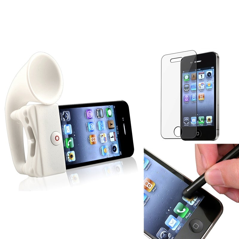INSTEN Horn Stand Speaker/ Screen Protector/ Stylus for Apple iPhone 4/ 4S