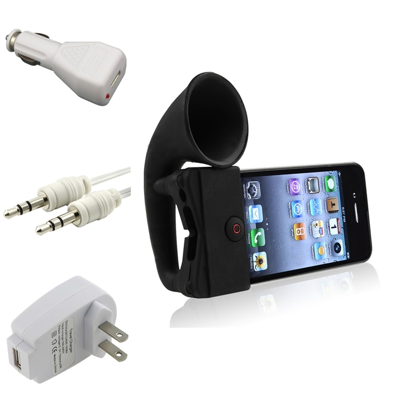 Black Horn Stand Speaker/ Chargers/ Cable for Apple® iPhone 4/ 4S