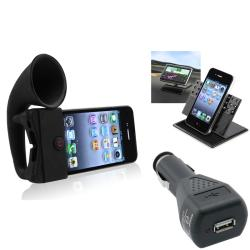 Black Horn Stand Speaker/ Holder/ Charger Accessory Set for Apple iPhone 4/ 4S