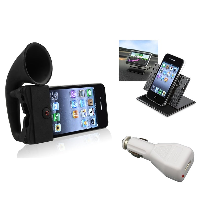 Black Horn Stand Speaker/ Holder/ Charger for Apple® iPhone 4/ 4S