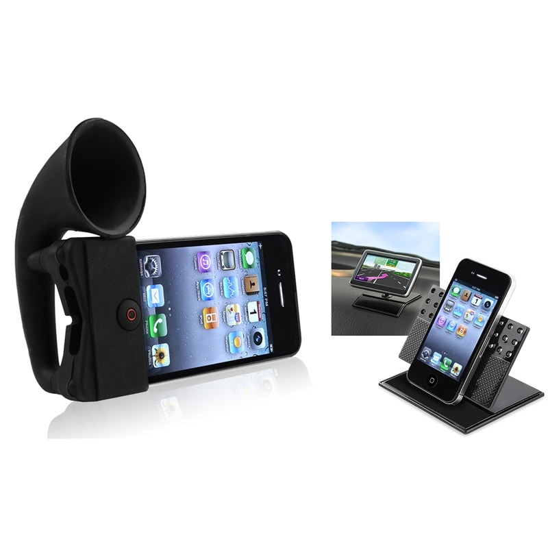 Black Horn Stand Speaker/ Car Phone Holder for Apple® iPhone 4/ 4S