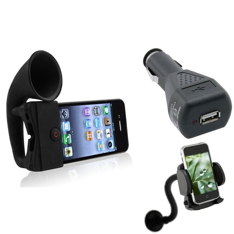 Black Horn Stand Speaker/Charger/Mount Bundle for Apple iPhone 4/4S