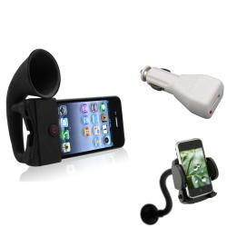 Black Horn Stand Speaker/ Charger/ Mount for Apple� iPhone 4/ 4S