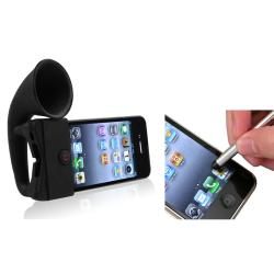 Black Horn Stand Speaker/ Silver Stylus for Apple� iPhone 4/ 4S