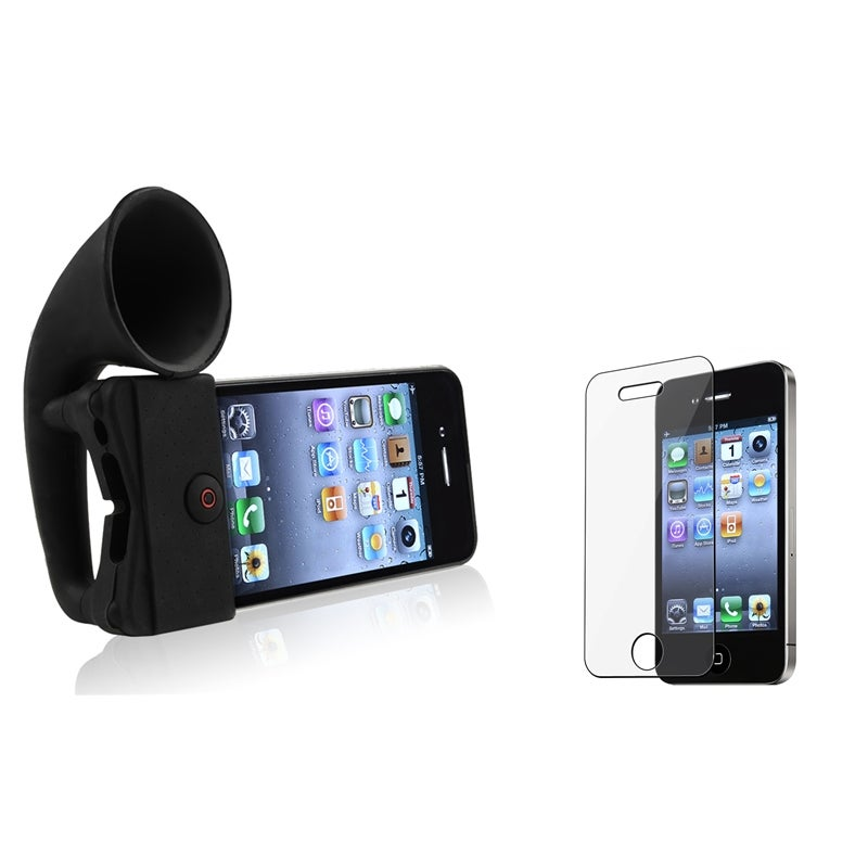 Two-Piece Black Wireless Horn Stand Speaker and Transparent Anti-Scratch Screen Protector for Apple iPhone 4/ 4S