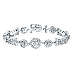Auriya 14k White Gold 4ct TDW Round Diamond Tennis Halo Bracelet (H-I, SI1-SI2)