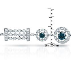 Auriya  14k White Gold 4ct TDW White/ Blue Diamond Tennis Halo Bracelet (H-I, SI1-SI2)
