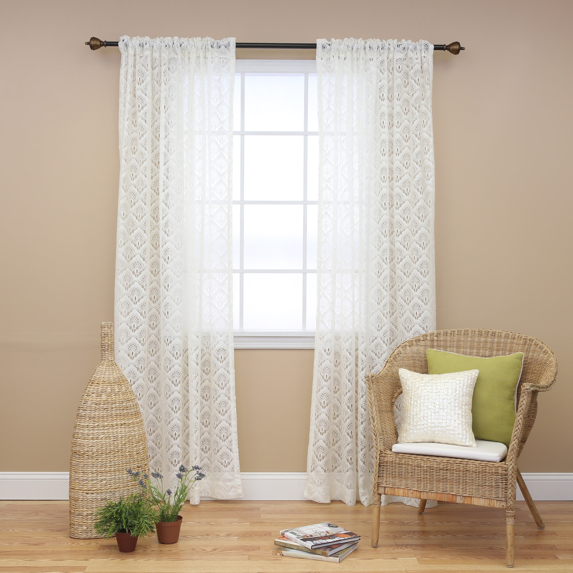 Aurora home ivory lace 84 inch curtain panel pair 14500367