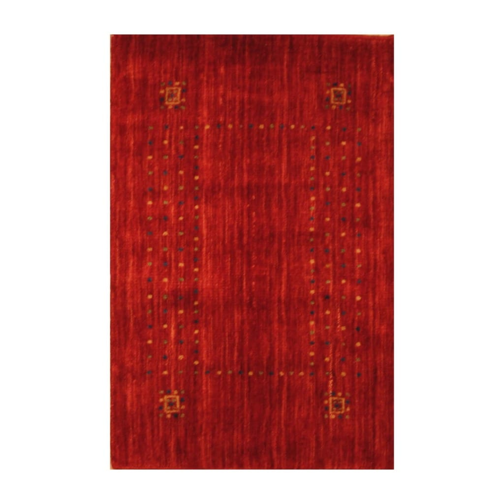 Indo Hand-loomed Red/ Gold Gabbeh Wool Rug (2' x 3')