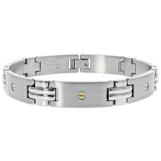 14k Yellow Gold and Stainless Steel Men's Screw Detail Bracelet