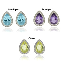 Dolce Giavonna Silverplated Diamond Accent Gemstone Teardrop Stud Earrings