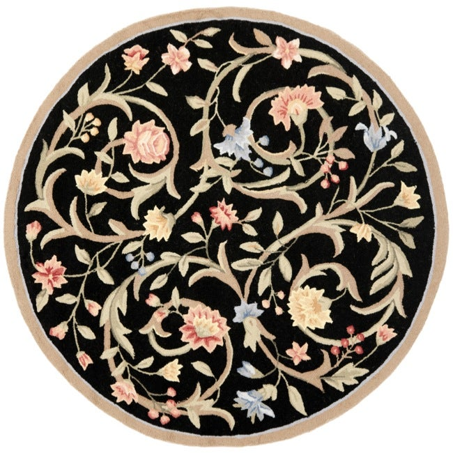 Safavieh Hand-hooked Garden Scrolls Black Wool Rug (8' Round)