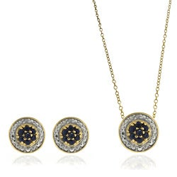 Dolce Giavonna Sterling Silver Diamond Accent Sapphire Circle Earrings and Pendant Set