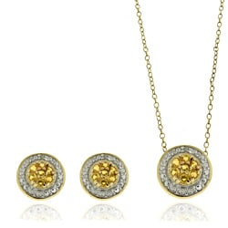 Dolce Giavonna Sterling Silver Diamond Accent Citrine Circle Earrings and Pendant Set