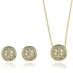 Dolce Giavonna Sterling Silver Diamond Accent White Topaz Circle Earrings and Pendant Set