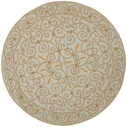 Hand-hooked Chelsea Irongate Light Blue Wool Rug (4' Round)